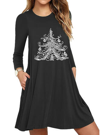 Imprimée Manches Longues Fourreau Au-dessus Du Genou Noël/Décontractée Robes
