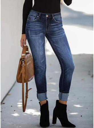 Les poches Froncé Grande taille Longue Élégante Sexy Jeans